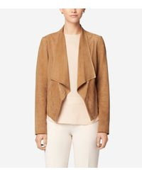 Cole Haan | Brown Double Face Suede Open Front Jacket | Lyst