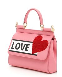 Dolce & Gabbana - Pink Small Sicily Bag With Heart - Lyst