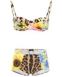 Dolce & Gabbana Multicolor Dolce & Gabbana Patchwork Print Balconette Bikini