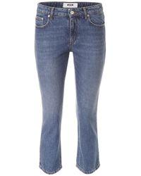 Jeans cropped logo di MSGM in Blue