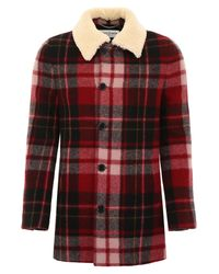 Saint Laurent Red Check Coat With Shearling Collar for men