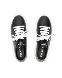 Prada Black Raw-cut Leather Sneakers