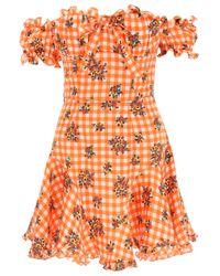 MINI ABITO IN SETA VICHY di Alessandra Rich in Orange