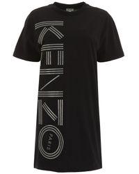 KENZO Black Logo Print T-shirt Dress