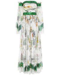 Maxi abito con stampa di Dolce & Gabbana in Multicolor