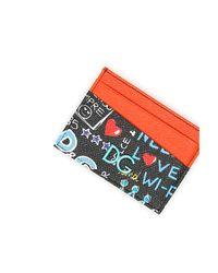 Dolce & Gabbana - Red Dg Graffiti Cardholder - Lyst