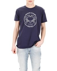 Maison Kitsuné Blue Printed T-shirt for men