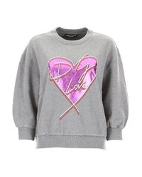 Felpa stampa cuore di Dolce & Gabbana in Gray