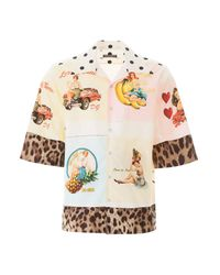 Dolce & Gabbana Multicolor Pin Up And Leopard Print Shirt for men
