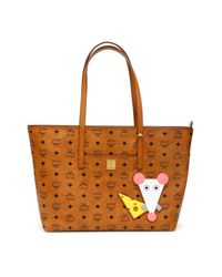 MCM Brown Anya Rat Detail Tote Bag