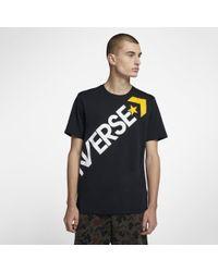 Converse Black Cross Body Graphic Men's T-shirt for men