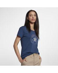 1e798cdf908a73 Lyst - Converse Clear Foil Chuck Patch Crew Women s T-shirt in Blue