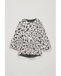 COS Gray Gathered Jacquard A-line Top