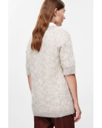 COS Blue Short-sleeve Cable-knit Jumper