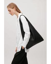 COS Black Soft Leather Shopper