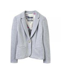 Joules Gray Justine Textured Jersey Blazer