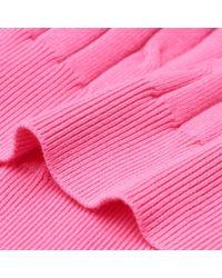Gant - Pink Stretch Cotton Cable V-neck Ladies Jumper - Lyst
