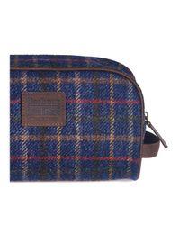 Barbour Blue Tweed Wash Bag