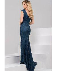 Jovani - Blue Long Lace Evening Dress - Lyst