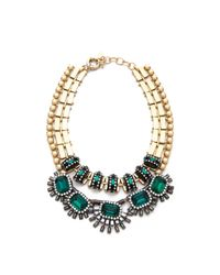 Elizabeth Cole | Blue Collar Gold-plated Swarovski Crystal And Cabachon Necklace | Lyst