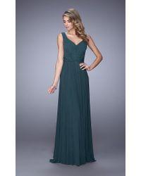 La Femme - Green 21624 Jewel Adorned A-line Evening Gown - Lyst