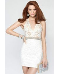 Alyce Paris - White 4442 Short Dress In Ivory - Lyst