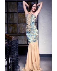 Baccio Couture | Blue Lara - Painted Long Mesh Dress | Lyst