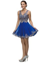 Dancing Queen Blue 9422 Metallic Embroidered V-neck Tulle Cocktail Dress