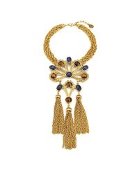 Ben-Amun   Metallic Gypset Large Gold Necklace With Pendant And Three Tassels   Lyst