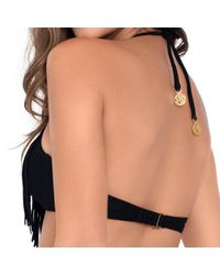 Luli Fama - Heart Of A Hippie Weave Fringed Halter In Black (l) - Lyst