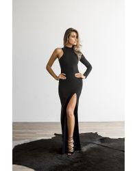 Donna Mizani Black One Sleeve Mock Neck Gown