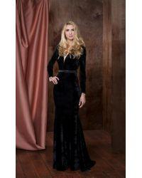 Colors Dress Black 1780 Long Sleeve Velvet Trumpet Dress