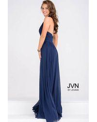 Jovani | Blue Halter Neck Ruched Bodice Empire Waist Dress Jvn | Lyst