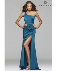 Faviana - Blue 7892 Faille Satin Asymmetrical One Shoulder Evening Dress With Sash And Back Cut-outs - Lyst