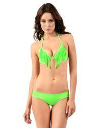 Voda Swim - Neon Green Envy Push Up Fringe String Bikini Top - Lyst