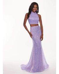 Rachel Allan Purple 6450 Two Piece Sequined High Halter Trumpet Dress