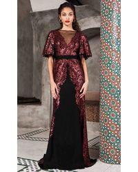 Tadashi Shoji Black Flutter Sleeve Illusion Neck Evening Dress