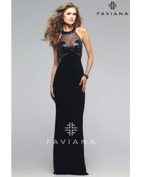 Faviana | Blue Elegant Jersey Evening Gown With Sequin Embellishments | Lyst