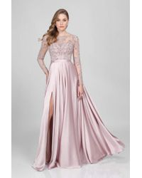 Terani Couture Pink Long-sleeve Beaded Long Gown With Side Slit 1712m3428.