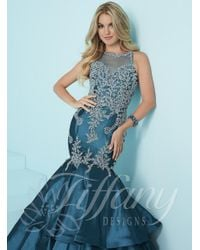 Tiffany Designs - Blue Flouncy Tiered Mermaid Illusion Long Evening Gown - Lyst