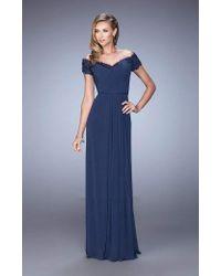 La Femme Blue Jeweled Lace Off Shoulder Gown 21613