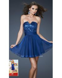 La Femme - Blue Sequined V-neck Chiffon A-line Dress - Lyst