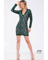 Jovani | Blue Scalloped Trimmed Lace V-neck Sheath Cocktail Dress Jvn | Lyst