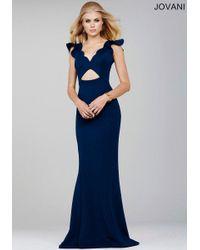 Jovani - Blue Short Sleeve Scalloped Edge V-neck Sheath Dress - Lyst