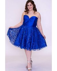 Sydney's Closet Blue Sc8097 Strapless Mikado Embroidered Tulle Dress