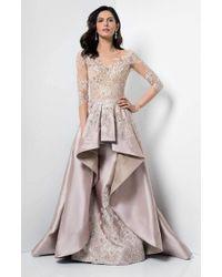 Terani Couture Pink Laced Illusion Neck Mikado Dress 1711m3518