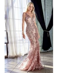 Cinderella Divine Pink Ht062 Fitted Lace Sequined V-neck Trumpet Silhouette Gown