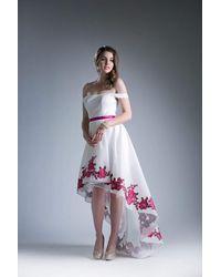 Cinderella Divine White Kc1770 Off-shoulder A-line High Low Dress