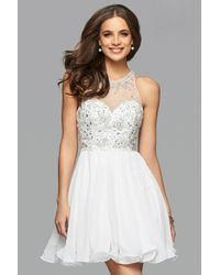 Faviana - White 7873 Short Chiffon Cocktail Dress With Beaded Bodice - Lyst