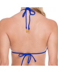 Luli Fama - Braided Triangle Top In Electric Blue (lz) - Lyst